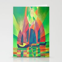 Sea of Green With Cubist Abstract Junks  Stationery Cards
