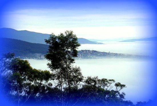 Fog blanketing Hobart for S.Ellen Art Print