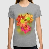 Pretty holiday orange daisy flower. Floral nature garden photography. Womens Fitted Tee Tri-Grey SMALL