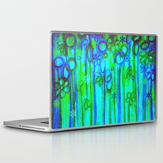 WINTER GARDEN -Bright Blue Green Neon Snowflake Floral Abstract Watercolor Painting and Digital Art Laptop & iPad Skin