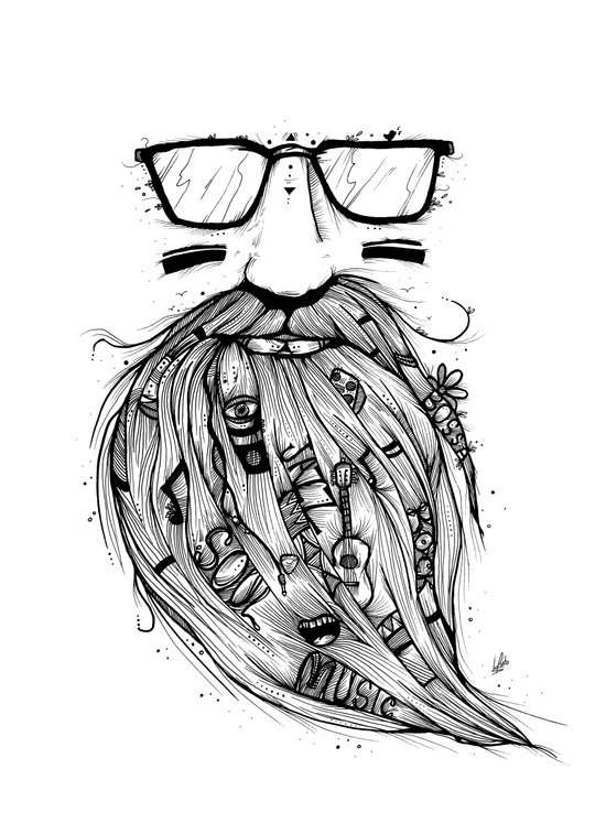 Beard Me Some Music (Black & White) Art Print