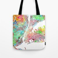 New York map splash painting Tote Bag