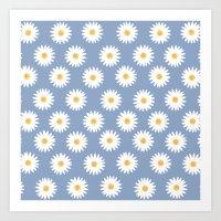 Blue Daisy Pattern Art Print