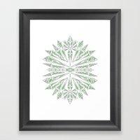 Green Kaleidoscopic Snow… Framed Art Print