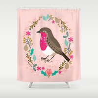 European Robin By Andrea… Shower Curtain