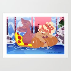 Pizza Mermaid Art Print