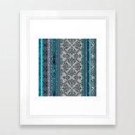 Framed Art Print featuring Teal, Aqua & Grey Vintag… by Micklyn