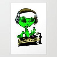 Alien DJ Art Print