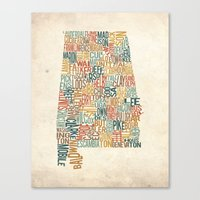 Alabama by County Canvas Print