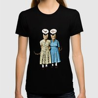 Two Cool Kitties: What's for Lunch? Womens Fitted Tee Black SMALL