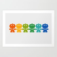 Rainbow Robots Holding H… Art Print