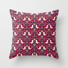 Folk Birds Red Throw Pillow