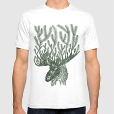 Moose-fir White SMALL Mens Fitted Tee
