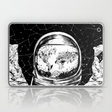 astronaut world map black and white 1 Laptop & iPad Skin
