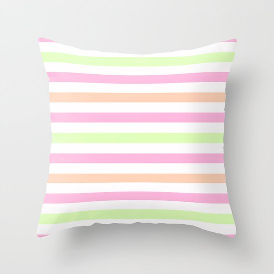SHERBET STRIPES 2 Throw Pillow