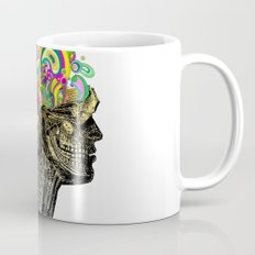 Bright neon pink yellow abstract anatomical skull Mug
