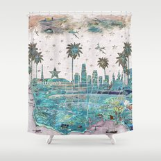 Los Angeles skyline vintage map Shower Curtain
