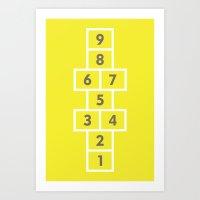 Hopscotch Yellow Art Print