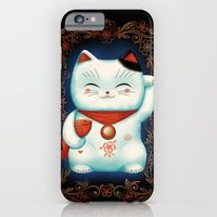 iPhone Cases featuring Lucky Cat by Cat Finnie