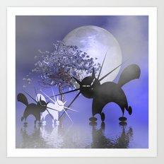 mooncats in a foggy night Art Print