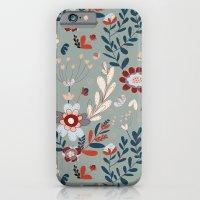 iPhone & iPod Case featuring Deep Indigos & Gray Garden Hearts by Alyssa Bermudez