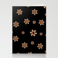 Snowflakes (Orange On Bl… Stationery Cards
