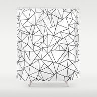Abstract Outline Black O… Shower Curtain