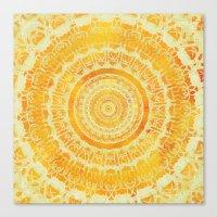 Golden Sun Mandala Canvas Print