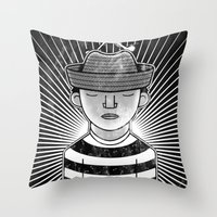 Fisher Man B/W Throw Pillow