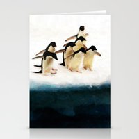 The Penguin Party - Painting Style Stationery Cards