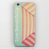 Pink Umbrella Aqua Sky iPhone & iPod Skin