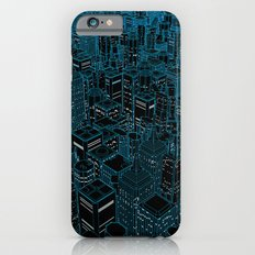 Night light city / Lineart city in blue Slim Case iPhone 6s