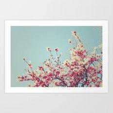 Retro Blossoms Art Print