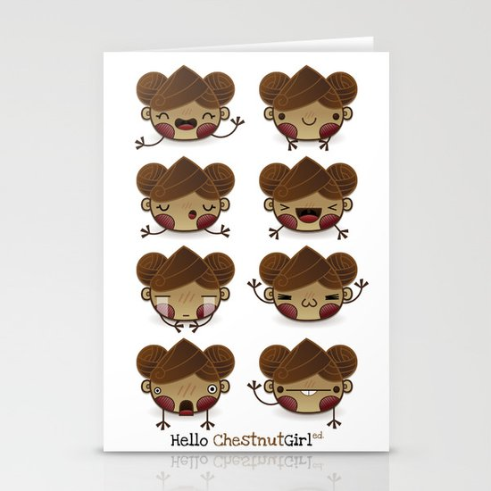 Chestnut Girl Mood Stationery Card
