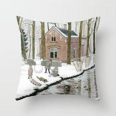 Children Building A Snowman Throw Pillow
