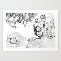 Bubbles Black and White Art Print