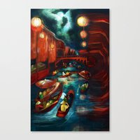 Chinese Moonlight Market… Canvas Print