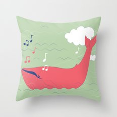 The Singing Whale Throw Pillow