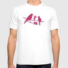 Girl tells a story to her friends Mens Fitted Tee White SMALL