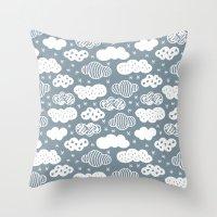 Raw Geometric Clouds Blu… Throw Pillow