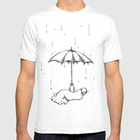 Rain Rain Go Away! Mens Fitted Tee White SMALL
