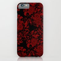 iPhone & iPod Case featuring Chrysanthemums Red on Black by Bel Menpes