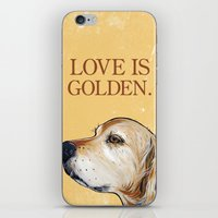 iPhone & iPod Skin featuring Love is Golden by WOOF Factory