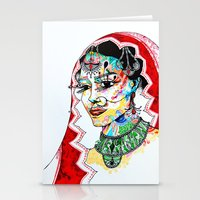 indian Stationery Cards featuring Indian by Cemile Demir Uzunoglu
