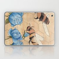 Big Bees Buzzing About Beautiful Blue Blossoms Laptop & iPad Skin