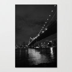 Manhattan Night Black & White Canvas Print