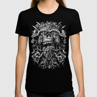 Aztec Skull Womens Fitted Tee Black SMALL