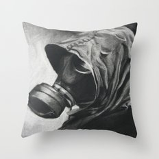The Gas Mask Throw Pillow