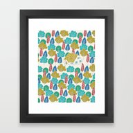 Framed Art Print featuring Happy Hermit by Monica Gifford