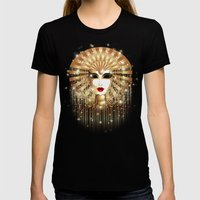 Golden Venice Carnival M… Womens Fitted Tee Black SMALL